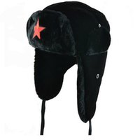 Wholesale Lei Feng Hat - 2014 new Men pentagram Lei Feng Winter Hat Aviator Outdoor Ear Flaps Bomber Cap Proof Trapper Russian Hat