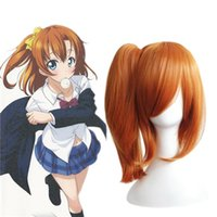 Wholesale Orange Ponytail Wig Cosplay - Cheap Cosplay Hair Wigs LoveLive Single Clip Ponytail Long Side Bang Heat Resistant Cartoon Orange Synthetic Wig
