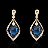 Wholesale Yellow Stone Stud Earrings - 18K Yellow Gold Plated Clear Crystal Paved Created Blue Sapphire Stone Teardrop Stud Earrings Fashion Party Costume Jewelry Gift
