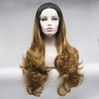 Wholesale Gold Lace Wig - Factory supply black to gold ombre wavy synthetic lace front wigs for women high quality synthetic hair free shipping