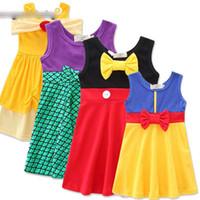 Discount snow white baby tutu - baby girls Mermaid snow White Mickey vest dress summer cartoon Children Bow princess dresses Kids Clothing XT