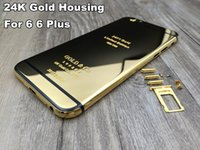 Wholesale replacement plates - For iPhone 6 6 plus 24kt 24ct 24k mirror gold plated housing cover chassis middle frame replacement free shipping