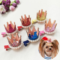 Wholesale Puppy Hair Bows - 20PCS Pets Dog Hair Bows Clips pearl crown mixed puppy Hairpins Grooming Supplies Handmade cat pet headdress accessories PD005