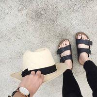 Wholesale Cowhide Leather Sandals - New 2017 Men's Sandals Slippers Genuine Leather Cowhide Sandals Outdoor Casual Men Leather Sandals for Man Men beach shoes