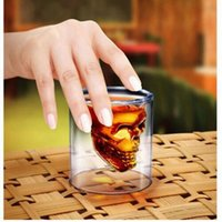 Wholesale Tea Pot Glass Cups - 100ML Skull Cup Skull Head Wine Glasses DOOMED Vodka Whiskey Shot Glass Double Layer Pirate Vaccum Glasses Beer Mug Drinking Ware