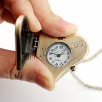 Wholesale Heart Shaped Watches For Women - Wholesale- Fashion Bronze Retro Quartz Pocket & Fob Watches Watch Necklace Chain Heart-shaped Watch For Women Men Valentine's Day Gifts