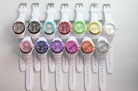 Wholesale Wholesale Rubber Watch Faces - Hot 43MM White Bands Double Colors Face Jelly Watch Fashion Candy Quartz Watches 50pcs DHL free