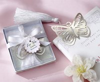 Wholesale Metal Butterfly Boxes - 100pcs lot Butterfly Bookmark with Tassels Wedding Favors Stainless Party Gift Box Boys and Girls Baby Shower Free shipping