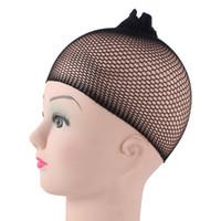 ingrosso maglia di tessitura dei capelli-1Pcs / Lot Reti di nylon invisibili con elastico New Fashion Cool Mesh Caps per parrucche Spandex nero Cap Size Controllo tessitura Cap
