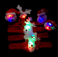 Wholesale led xmas bracelets - Christmas Decorations New-Style LED Pat Circle Santa Claus Snowman Bear Deer Toy XMAS Ornaments ChildrenChristmas cartoon bracelet IB494