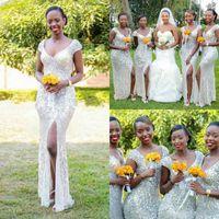 Wholesale Bridemaids Mermaid Dresses - Sparkle Sequins Arabic Country Split Bridesmaid Dresses Long Formal Women Beach African Bridemaids Wedding Guest Party Gowns Backless