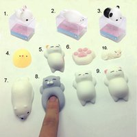 Wholesale Iphone Case Toys - Stress Reliever Toy Lovely Cartoon 3D Soft Q Elastic Squishy Cat Panda Seal Chick Silicone For Cellphone Case