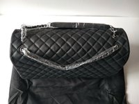 Wholesale Authentic Brand Handbags - Hot sales Authentic Deerskin 46cm Brand Womens Vintage Double Flap Handbags Classic Jumbo Quilted black vintage Silver chain Shoulder Bags