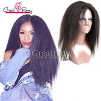 Wholesale Human Kinky Lace Wig - Glueless Full Lace Wigs Human Hair Brazilian Hair Kinky Straight Lace Wig Lace Front Kinky Human Hair For Black Women For Greatremy