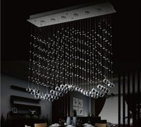 Wholesale Curtain Light Chandelier Crystal - luxury LED 6 Light Crystal Wave Chandelier Modern Style Curtain Wave LED GU10 Bulb Lights Crystal ChandelierS Pendent Lamp 110v 220v
