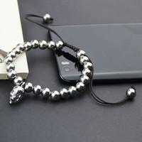 Wholesale Hematite 6mm - LYCOON 6MM magnet HEMATITE rounds steel skeleton skull bead bracelets DIY hand made strand men bracelets size adjustable