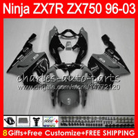 Wholesale 1998 Kawasaki Zx7r - 8Gifts 23Colors For KAWASAKI NINJA ZX7R 96 97 98 99 00 01 02 03 grey black 18NO55 ZX750 ZX 7R ZX-7R 1996 1997 1998 2001 2002 2003 Fairing