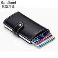 Wholesale Passport Holder Blue - Wholesale- HansBand 2017 Antitheft men wallet PU leather mini RFID wallets automatic business card holder pop up case credit card protector
