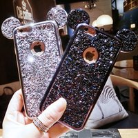 Wholesale Mouse For Apple - Glitter Powder Phone Cases For iPhone 8 6 6s 7 Plus Fashion 3D Mickey Mouse Ears Bling Glitter Cover Case For Apple iphone 7 plus Case