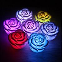Wholesale Led Rose Floating Candles - New Romantic Changing LED Floating Rose Flower Candle Night Light Wedding Party Decoration 600pcs lot CCA7500 600pcs