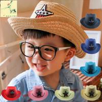 kore şapka bebek kız toptan satış-Korean oğlan ve kız ', yaz batı kovboy, el yapımı hasır şapkalar, bebek güneş şapka, güneşlik toptan kapakları