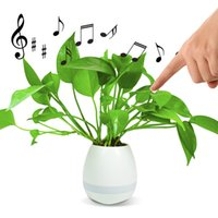 Wholesale 2017 new Smart Touch Music Flower Pot Portable speaker with Bluetooth Speakers and Colorful Night Light Music Plant Lamp DHL