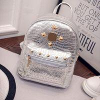 Wholesale College Book Bag - 2017 new college wind schoolbag washed leather backpack Women Gold Velvet Small Rucksack Backpack School Book Shoulder Bag