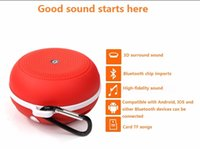 Wholesale Mini Stereo Bluetooth Handsfree - By DHL free Universal mini Portable wireless Bluetooth speaker stereo mountaineering outdoor small speaker subwoofer with Mic FM handsfree