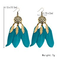 Wholesale Cool Feather Earrings - Fashion BOHO Bohemia Feather Dreamcatcher Drop Cool Earring Ethnic style elegant Beach earring For Sexy Women Wholesale