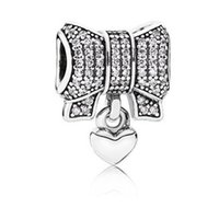 Wholesale Bow Charm Pandora - Factory Price 925 Sterling Silver Beads Heart and Bow Charm Fit Pandora Charms Bracelet DIY European christmas