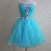 Wholesale Turquoise Organza Prom Dress - Pretty Girls Short Prom Dreses with Crystals 2017 Vestidos de Curto Turquoise Prom Gowns Organza Mini Skirt Lace up Back Party Dresses