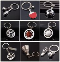 Wholesale Cartoon Mini Fan - DHL Free Mini Rotatable Basketball Football Golf keychain keyrings key rings metal bag hangs soccer fans fashion jewelry Christams Gift
