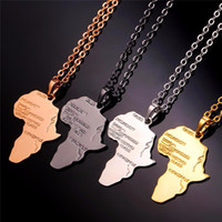 Wholesale Red Map - U7 Hiphop alloy Necklace Gold Color Pendant & Chain African Map Gift for Men Women Ethiopian Jewelry Trendy
