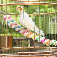 Wholesale Home Pet Birds Toys Wooden Bridge Ropeway Parrot Crested Myna Funny Toys With Clasps Hung Type