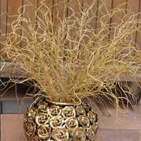 Wholesale Gilded Christmas Decorations - 46CM Long Artificial plant simulation gilded grass Christmas ornaments Glitter Bling Artificial flowers for home decoration