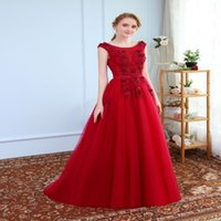 Wholesale Married Pictures - Robe De Soiree SSYFashion Evening Dress The Married Banquet Elegant Wine Red Lace Flower Long Party Prom Dresses Custom Size