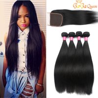 Wholesale Cheap Brazilian Human Hair Bundles - Brazilian Straight Hair Bundles With 4x4 Closure Unprocessed Brazilian virgin Hair Straight With Lace Closure Cheap Human Hair Extensions