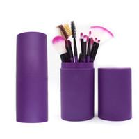 xícara de cosméticos xícara venda por atacado-12 PCS Conjuntos de Escovas de Maquiagem Dos Olhos Sombra Delineador Lápis de Mistura Escova Cosmética Kit de Ferramentas Make Up Jogo de Escova Com Rodada Caixa De Copo De Plástico