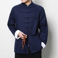 traditionelle lange tops großhandel-Chinesischen Stil Baumwolle Tai Chi Top Männer Langarm Tang Jacke Outwear chinesische traditionelle Kleidung Frühling Wushu Kung Fu Shirt