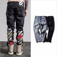 Wholesale Destroy Harem - OFF WHITE men fashion embroidery jeans ripped slim fit keen holes designer Zipper mens harem pants Destroyed Torn joggers Biker fear of god