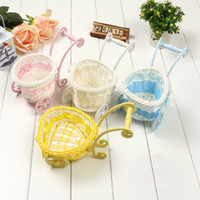 Wholesale Wholesale Baby Gift Baskets - Rustic Rattan Iron Baby Carriage Storage Basket Home Decoration Christening Favor Baby Shower Gift Birthday Present ZA3291