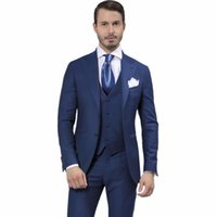 Wholesale Morning Dress Men - Wholesale- Men Suits Fashion Designer Navy Blue Wedding Groom Tuxedos Slim Fit Best Man Party Dress Morning Style(Jacket+Pants+Vest)
