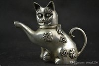 Wholesale Old Pots - Chinese Collectible Handwork Old Tibet silver carving cat Lucky tea pot