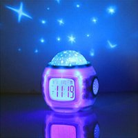 Wholesale Led Projector Clock Night Lamp - Wholesale- Music star Kid Baby Room Bedroom Music Alarm Clock Sky Star Night Light Projector Lamp Led Night Lamp Star Lighting