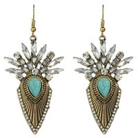 Wholesale Turquoise Statement Earrings - Ethnic Style Antique Gold Silver Color with Rhinestone and Turquoise Geometric Statement Drop Earrings for Women