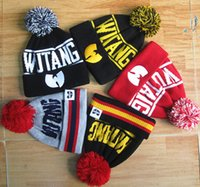 Wholesale 2017 New Winter Fashion Brand WU TANG CLAN Hip Hop Beanies For Women Men Bonnet Knitted Hats couple Wool Caps Pom Skullies touca gorro