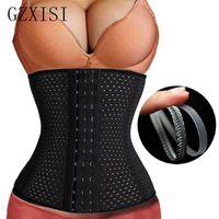 Wholesale Cheap Corsets Waist Slimmer - Wholesale- 3Rows hooks women slimming Cheap body shaper Bustier belt fashion 4 steel boned waist trainer corsets black Plus size Shapewear
