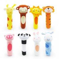 Wholesale toys bibi - Wholesale- 1PC New Baby Rattle Toy BIBI Bar Cute Animals Squeaker Sound Toys Infant Hand Puppet Enlightenment Soft Plush Dolls 8 Design