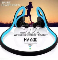 Wholesale hook wear resale online - HV600 Bluetooth Wireless Sports Headset Stereo Headphone Handsfree Wearing Style Outdoor Running For Smart Mobile Phone With retail pack