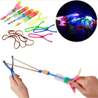 Wholesale Lead Shot Wholesale - Quality LED Light Flash Flying Flash Rotating Flying Arrow Shoot Up Helicopter helicopter umbrella LED Novelty toy for kids party Holiday